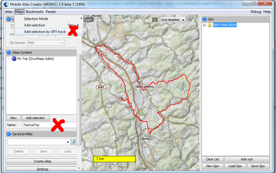 Make maps along a GPX route (for your bicycle trips)